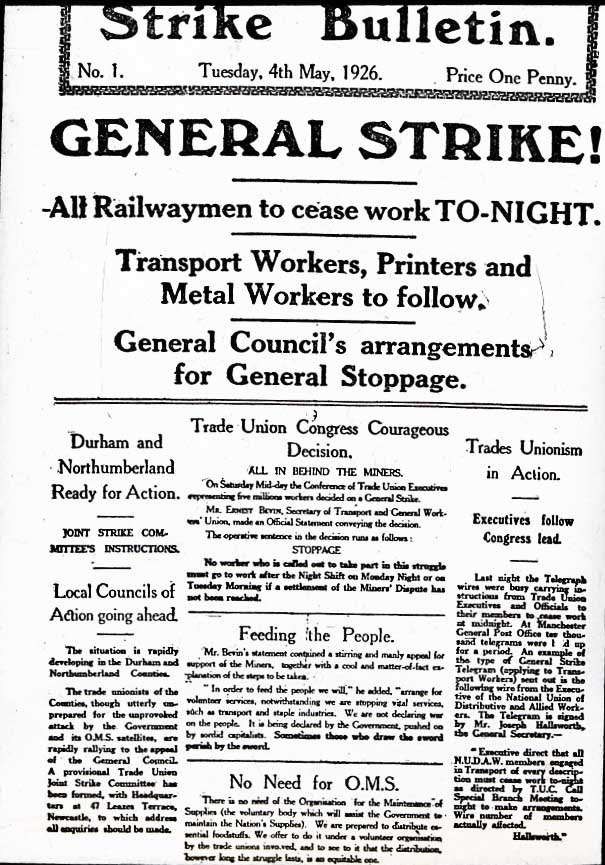 the events of the british general strike The significance of the great depression greatly outweighs both the winnipeg general strike and black tuesday while thousands of lives endured the suffering of the strike and the stock market crash, the depression was the introduction to the aftermath of the roaring 20s and wwi.