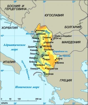 Карта Албании